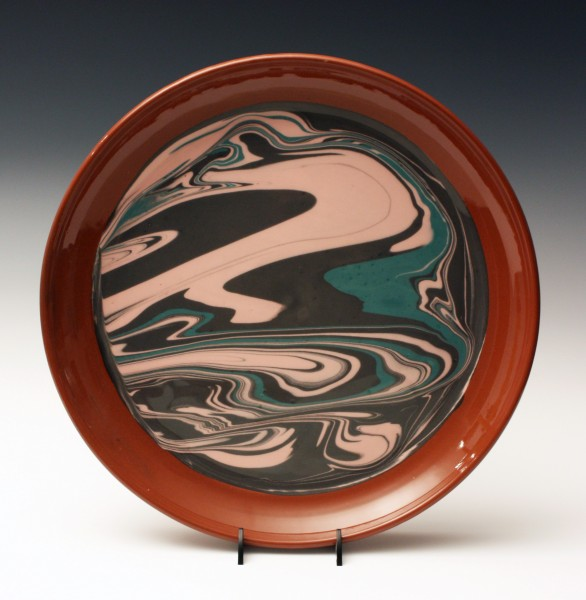 Pink, green and black marble plate 13