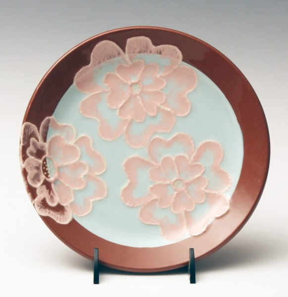 Teal with pink painted flower plate 7