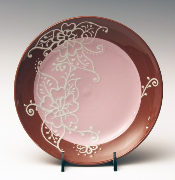 Pink with white slip trailed flowers plate 7 1/2