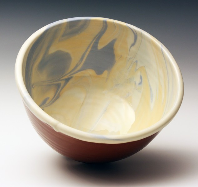 Yellow and blue marble bowl 9 1/2